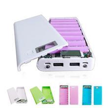 купить Welding-free 18650 Battery Case 1A 2A Dual USB Outputs DIY Power Bank Storage Battery Box LCD Power Bank Shell Can Hold 8 Batter по цене 264.43 рублей