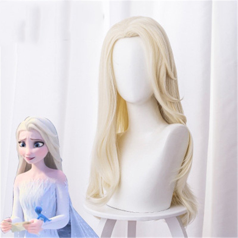 Anime Movie Princess Elsa Cosplay Wigs Long Light Yellow Distribute Hair Halloween Party Clothing Performance Wig