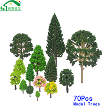 70Pcs Handmade Green Suit Architectural Building Railway Scenery Accessories Ho Miniatures Scale Model Train Trees Artificial