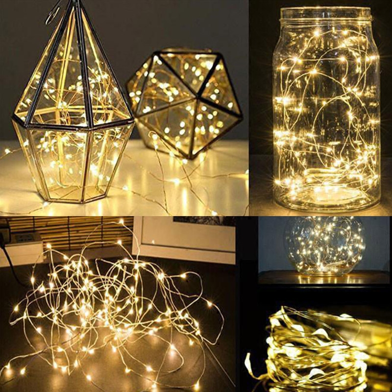 4 Pcs 2M 20 LED Stars Batteries Powered Bendable Silver Copper Wire String Light