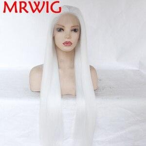 MRWIG pelucas frontales de encaje sintético sin pegamento, parte libre, Color blanco, largo, recto, mitad atado a mano, reemplazo, tinte permanente