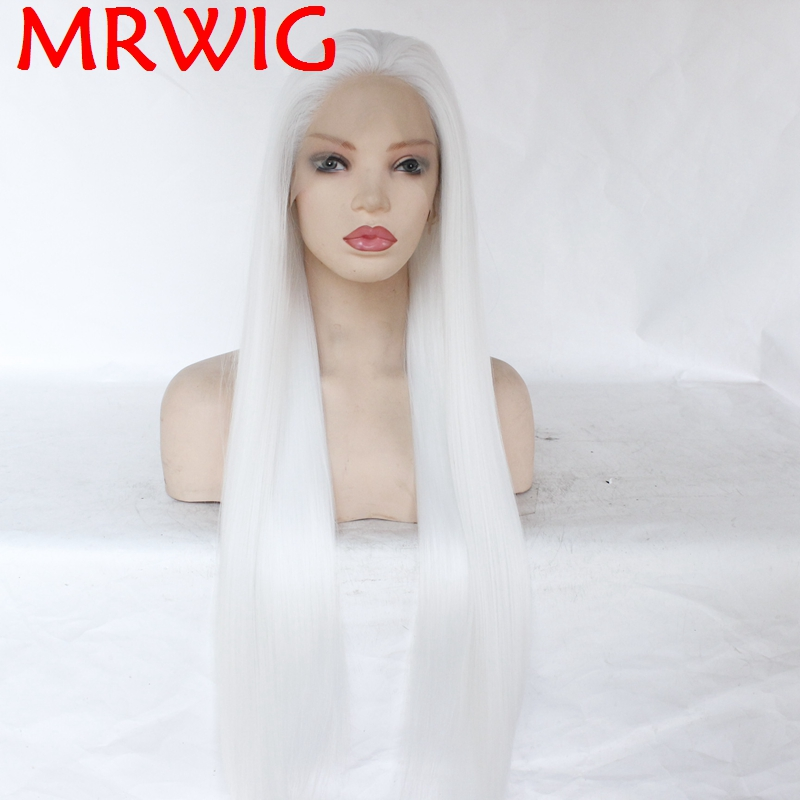 MRWIG Glueless Synthetic Lace Front Wigs Free Part White Color Long Straight Half Hand Tied Replacement Can Permed Dye