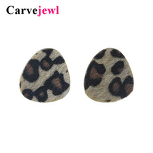 Carvejewl leopard print stud earrings for women jewelry simple fashion korean girl gift earing triangle vintage
