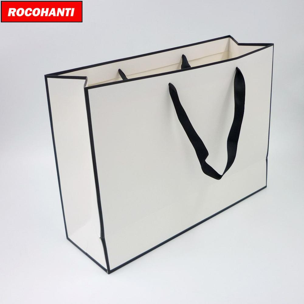 100X Custom Logo Print Apparel Retail Black Frame White Shopping Bags Carrying Bag With Ribbon Handle For Pants Garments Pack