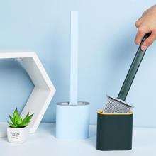 Силиконовая туалетная щетка для унитаза настенная плоская головка