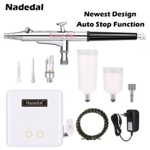 Nasedal NT-34 Auto-Stop Airbrush Compressor 20cc/40cc 0.3mm Spray Gun Air Brush Makeup Painting Decoration Pneumatic Tools