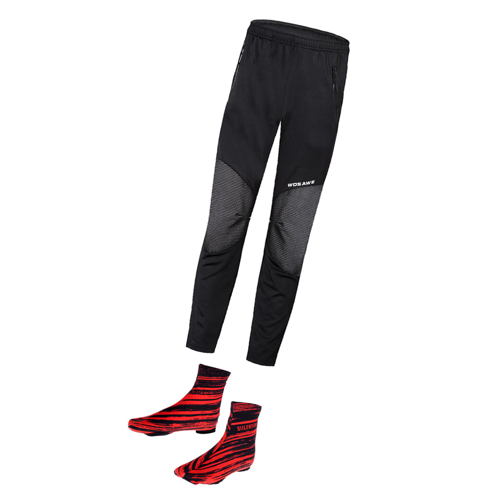 Men Cycling Bike Pants Sports Long Tights Leggings with Waterproof Shoes Cover Windproof Overshoes