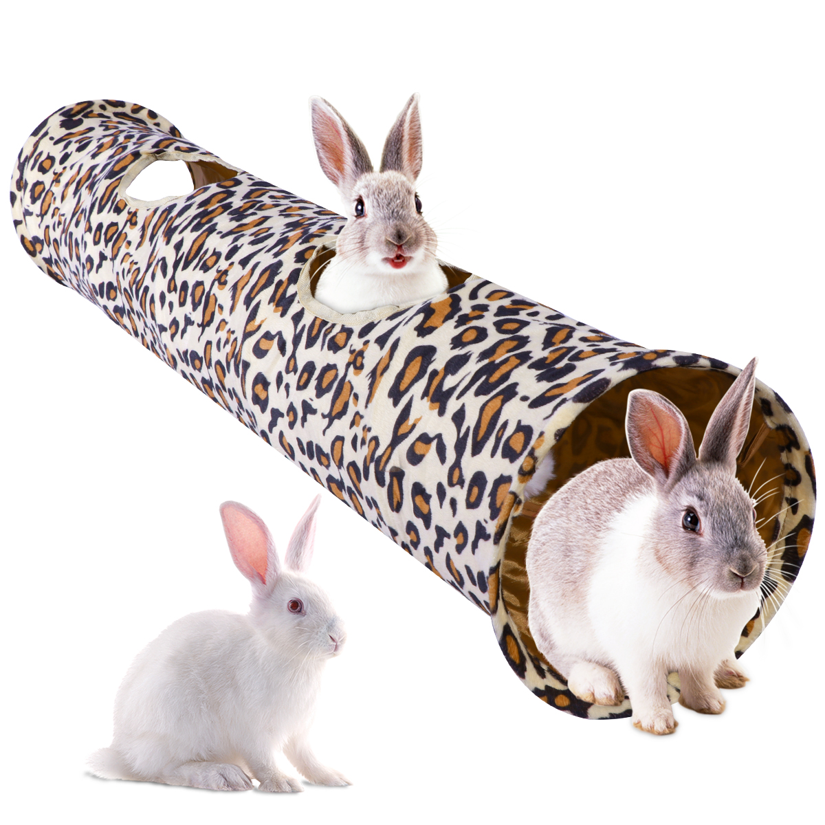 Pet Tunnel Leopard Print Pet Rabbit Play Tunnel Collapsible Tunnel Space-Saving Nontoxic Toys for Dogs Cat Rabbits 120x250 cm