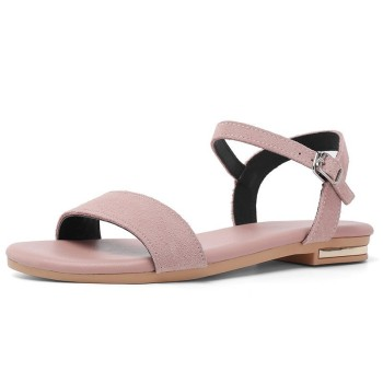 Cow Suede Flat Sandals Women Summer Ladies New Genuine Leather Sandal A245 Casual Woman Pink Black Buckle Comfortable Shoes - discount item  50% OFF Women's Shoes