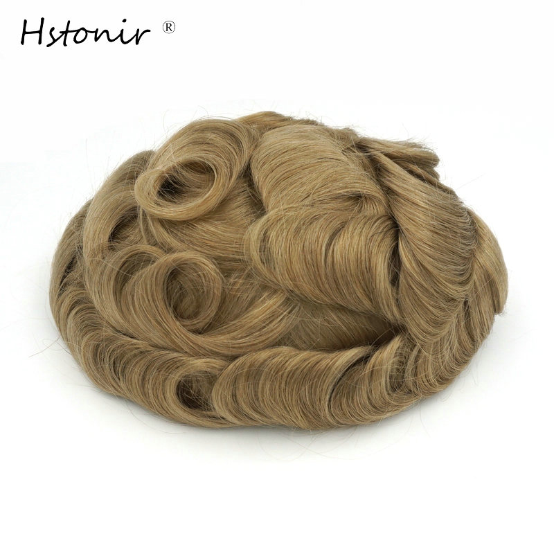 Hstonir Thin Skin Hair Pieces Toupee Top Closure Wig Indian Remy Hair For Men And Women Blond Stock H079