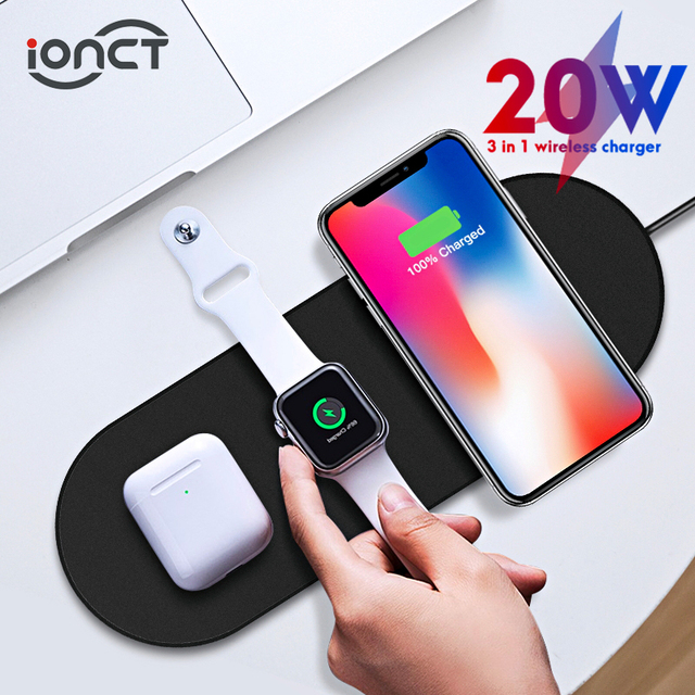IONCT אלחוטי מטען עבור iPhone X XS 11pro XR מהיר Qi אלחוטי 3 ב 1 טעינת Pad עבור Airpods 2019 אפל שעון 5/4/3 מטען