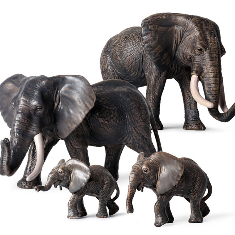 Small Size African Elephant Animal Figure Collectible Toys Wild Animal Action Figures Kids Plastic Cement Toys