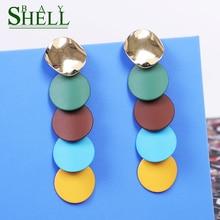 Shell bay Fashion Metal Earrings Jewelry Woman Earrings Red Pendientes small Cute Geometric drop Earrings Bohemia Party Girls
