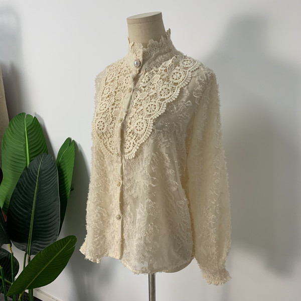 H047fb732bdeb4e2e9f6bf781213d1d92S - Spring / Autumn Korean Stand Collar Long Sleeves Crochet Lace Button Blouse