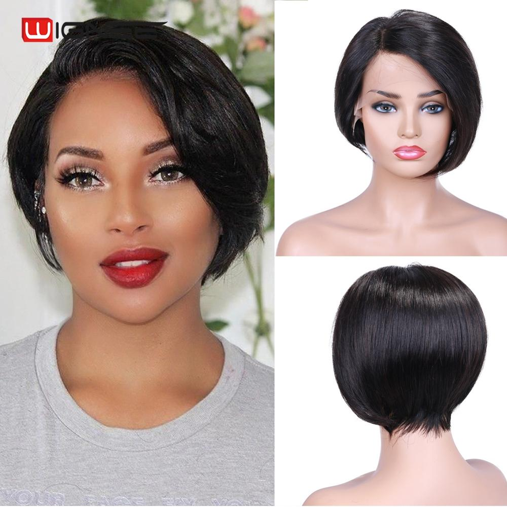 Wignee Lace Front Side Part Short Straight Hair Bob Human Wig For Black Women Glueless150% Density Virgin Hair Wig Free Shipping