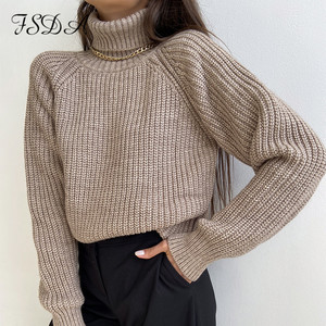FSDA Turtleneck Women Sweater Women Khaki Long Sleeve Pullover 2020 Autumn Winter Casual Pink Jumper Loose Sweaters Oversized(China)