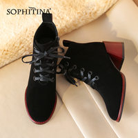 SOPHITINA New Comfortable Square Heel Boots High Quality Kid Suede Fashion Lace Up Women's Shoes Round Toe Ankle Boots SO251