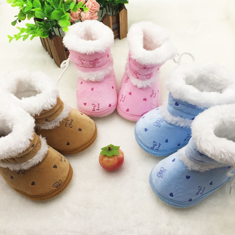 Fleece Winter Bootie Warm Baby Shoes Boots Girl Boy Print Snow Booties Antiskid Kids Flat Crib Shoes