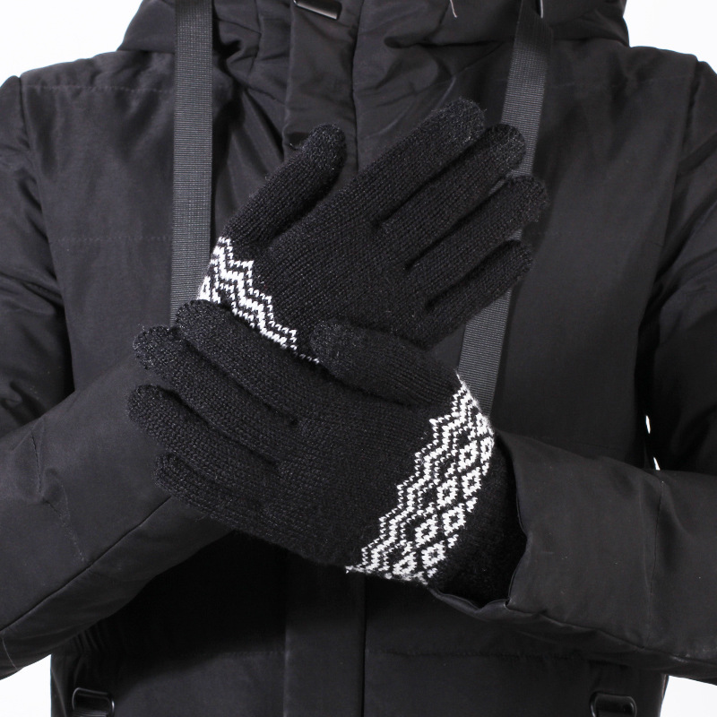Men's casual fashion touch screen gloves winter knit warm couple bicycle driving to play mobile phone five-finger gloves D75