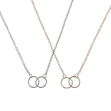 Min 1pc Gold and Silver Infinity Double Circles Necklace for Girls Circles Pendant Necklace Freeshipping(China)