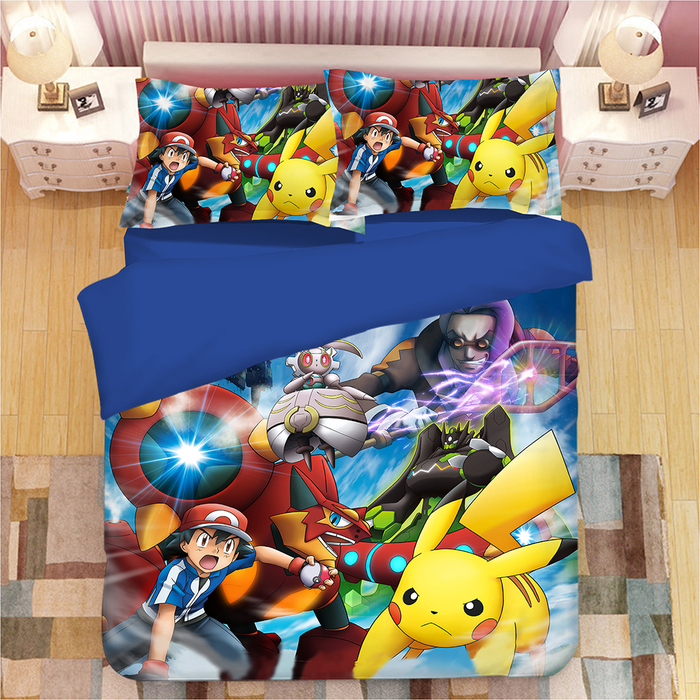 Pikachu Pokemon 3D Cartoon Print Bedding Set Duvet Covers Pillowcases Cartoon Anime Comforter Bedding Sets Bedclothes Bed Linen