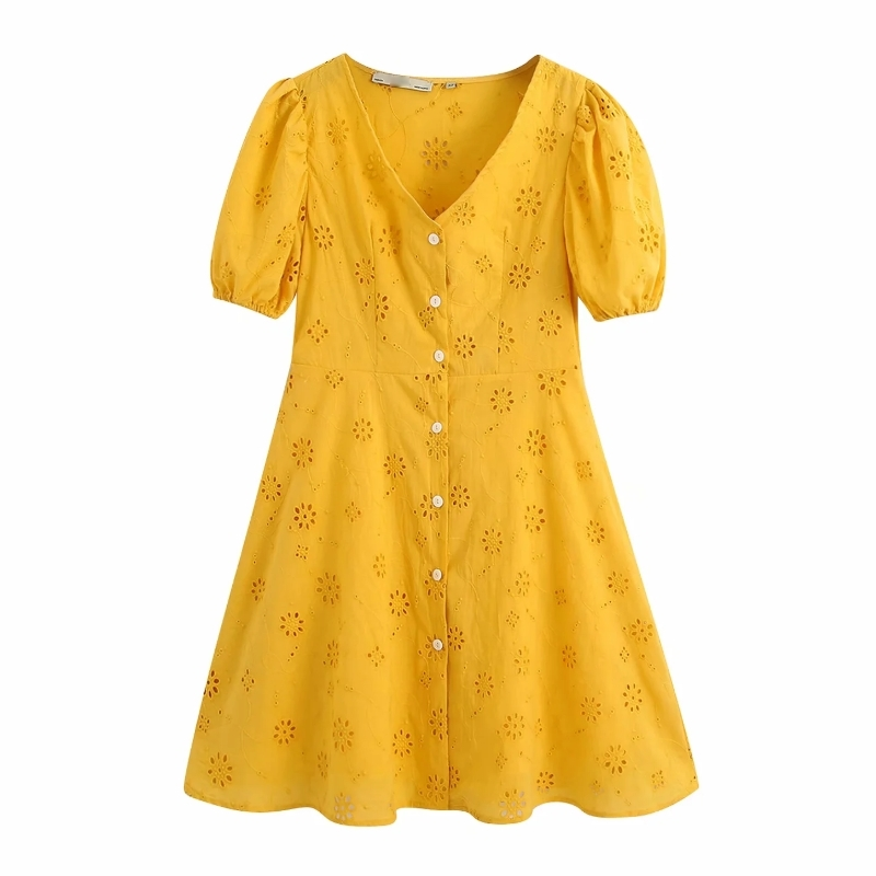 New 2020 Women Solid Hollow Out Embroidery A Line Dress Chic Female V Neck Puff Sleeve Button Vestido Casual Slim Dresses