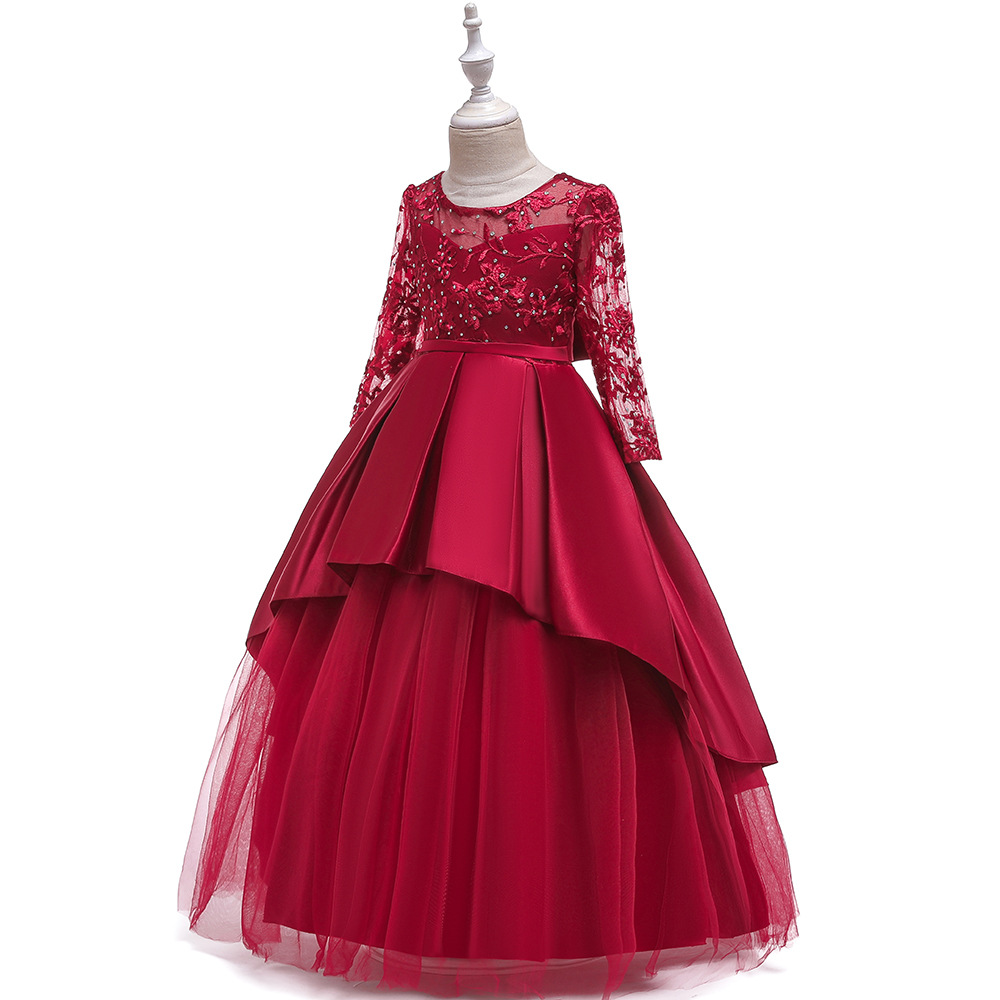 INS Long Sleeve Wedding Dress Tube Top Dress Mopping Children Embroidery Long Princess Dress Girls Pleated Puffy Costume