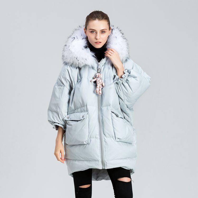 thicken new winter jacket women   down   jackets oversize loose long big raccoon fur outerwear   coat     down   jacket for women outerwear