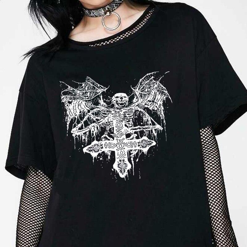 Готическая футболка, летние повседневные Модные женские топы в стиле панк, хип-хоп, Харадзюку, с черепом, темный ольччан, винтажные свободны...
