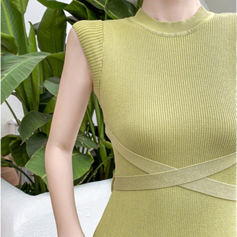 2020 New Women Slim Tank Dresses Split O Neck Knitted Long Dress Elegant Ladies Sleeveless Bodycon Sweater Dresses Vestidos 5