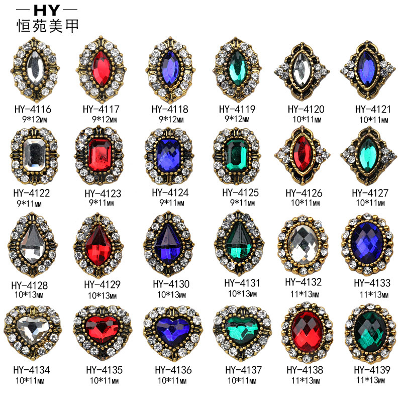 Japanese Korean Retro Nail Ornament New Style Horse Eye Ellipse Flat Nail Rhinestone New Year-Metal 3D Manicure Stickers