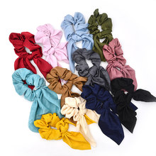 Solid Color Chiffon Elastic Hair Girl Scrunchy Hair Ties Smooth Girls Hair Bow Bands Charming Scrunchie Hairband(China)