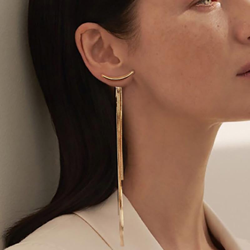Vintage Gold Color Bar Long Thread Tassel Drop Earrings for Women Glossy Arc Geometric Korean Fashion Jewelry Dropshipping 2021