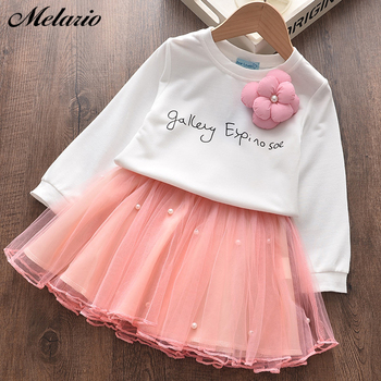 Melario Girls Clothing Sets New Autumn Letter Print Tops and Skirt Suit Mesh Girl Kids Clothes Cute Two Pieces Suit Outfits 2019 new christmas outfits babys outfits kids clothing santa clause suit long sleeve cute fashion toddle