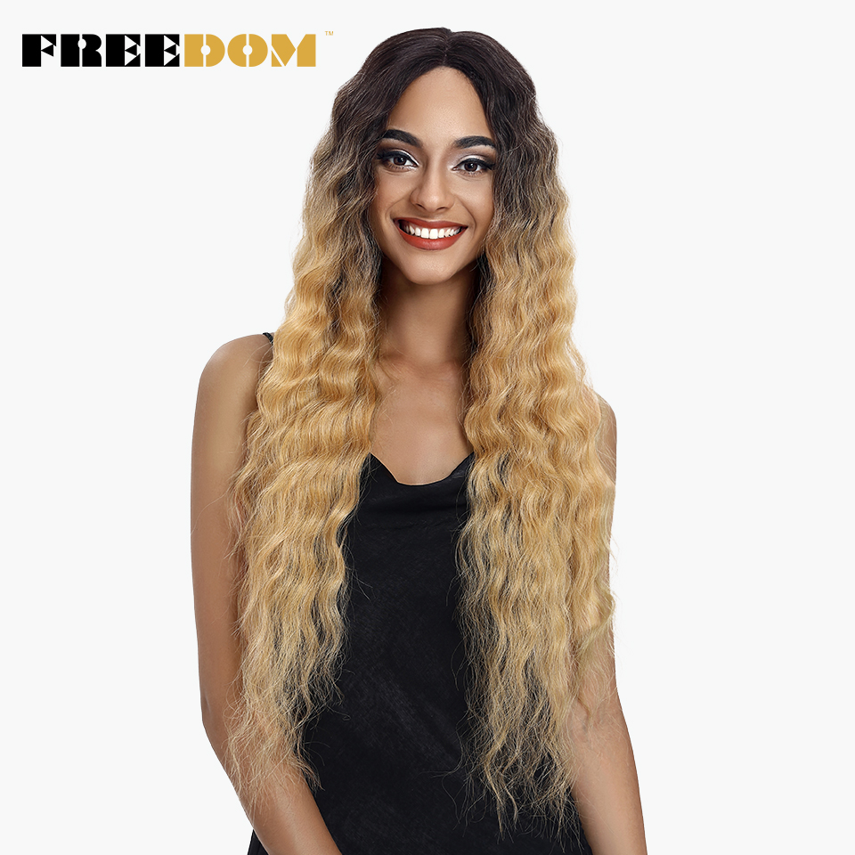 FREEDOM Lace Front Wigs For Black Women 30' Dark Root Blonde Brown Long Wavy Ombre Synthetic Wig Heat Resistant Deep Wave Hair