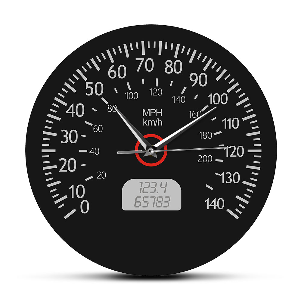 Wall-Clock Garage-Decor Speedometer Mechanics Racing Car And Black Dashboard-Gauge Miles