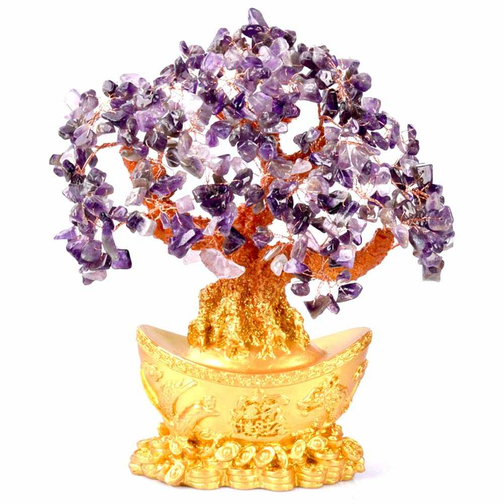 Mini Crystal Money Tree Bonsai Style Wealth Luck Feng Shui Bring Wealth Luck Home Decor Birthday Gift