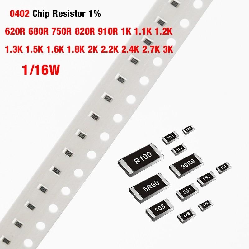 500 шт./лот чиповый резистор SMD 0402 1% 620R 680R 750R 820R 910R 1K 1,1 K 1,2 K 1,3 K 1,5 K 1,6 K 1,8 K 2K 2,2 K 2,4 K 2,7 K 3K Ohm 1/16W