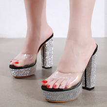 Купить с кэшбэком ladies summer slippers women Jelly Sandals Crystal Open Toed Sexy women slippers Crystal Women Sandals Pumps Jelly shoes LJA922