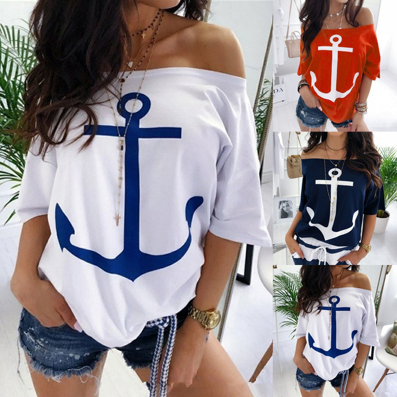 2020 Hot Style Easy Word Shoulder Batwing Coat Printed T-shirts
