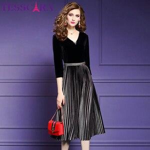 Image 2 - TESSCARA kobiety eleganckie frezowanie aksamitna sukienka Festa kobieta wydarzenie szata na imprezę wysokiej jakości projektant plisowane Vestidos Plus rozmiar M 4XL