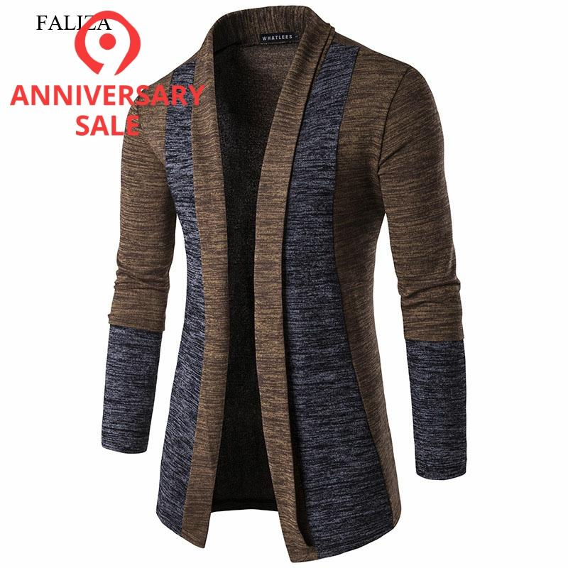 FALIZA 2019 New Spring Cardigan Male Fashion Quality Cotton Thin Sweater Men Casual Gray Redwine Mens Knitwear Clothes XYA