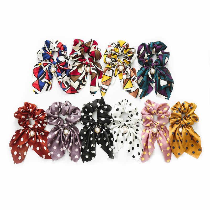 Fashion Rambut Scrunchies Perhiasan Ekor Kuda Pemegang Busur Elastis Aksesoris Rambut untuk Wanita Syal Dasi Rambut Pita Hiasan Kepala