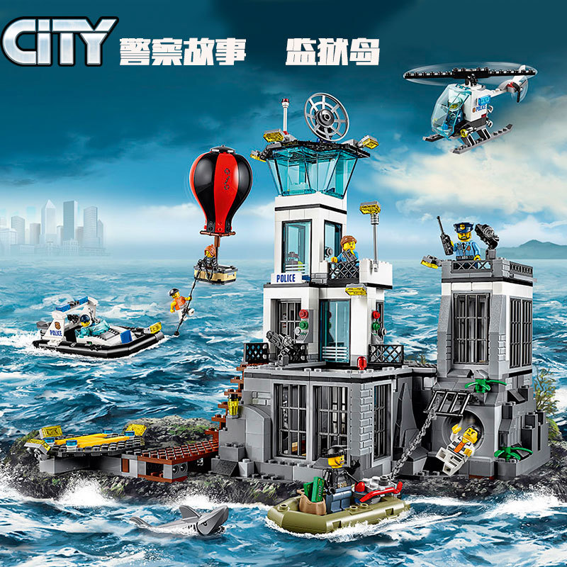 815PCS Tire Escape Police City Toy Compatible With City Series 60130 Building Blocks The Prison Island image
