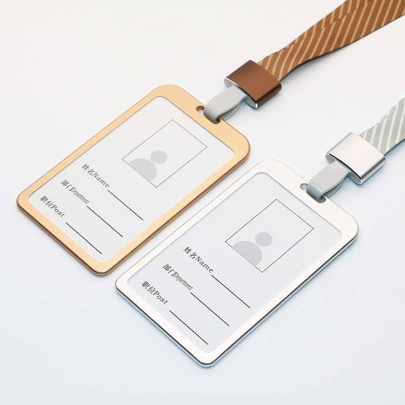 Aluminum Alloy Work Card Sleeve Jin Shu Kou Tou Lanyard Hangtag Thermal Transfer Stripes Hang Rope Badge Label Cover Work Card