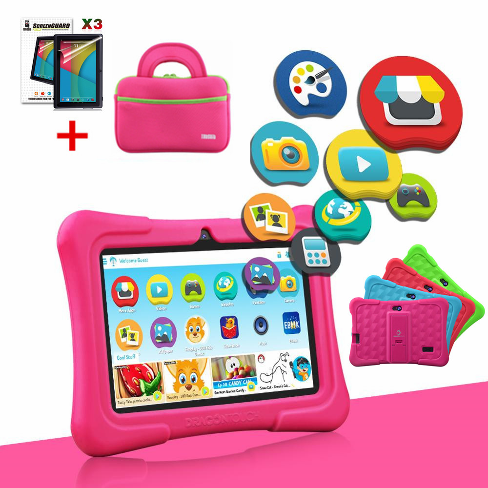 Y88X Pro 7'' HD Display Kids Tablet For Children 16GB Android 9.0 With Tablet Bag Screen Protector Tablet PC