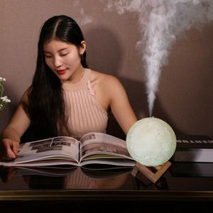 Image 3 - ขนาดใหญ่ 880Ml Air Humidifier Aroma Essential Oil Aroma DiffuserสำหรับHome 3d Led Moon Light USB Aromatherapy Diffuser Dropเรือ