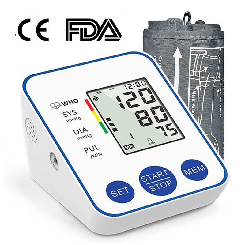Home Upper Arm Automatic Blood Pressure Monitor BP Sphygmomanometer Pressure Meter Tonometer for Measuring Arterial Pressure
