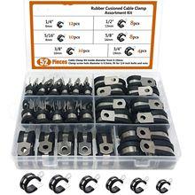 Pince de câble, 52 pièces de pince isolée de coussin en caoutchouc. Pince métallique en acier inoxydable (Kit d'assortiment 3)
