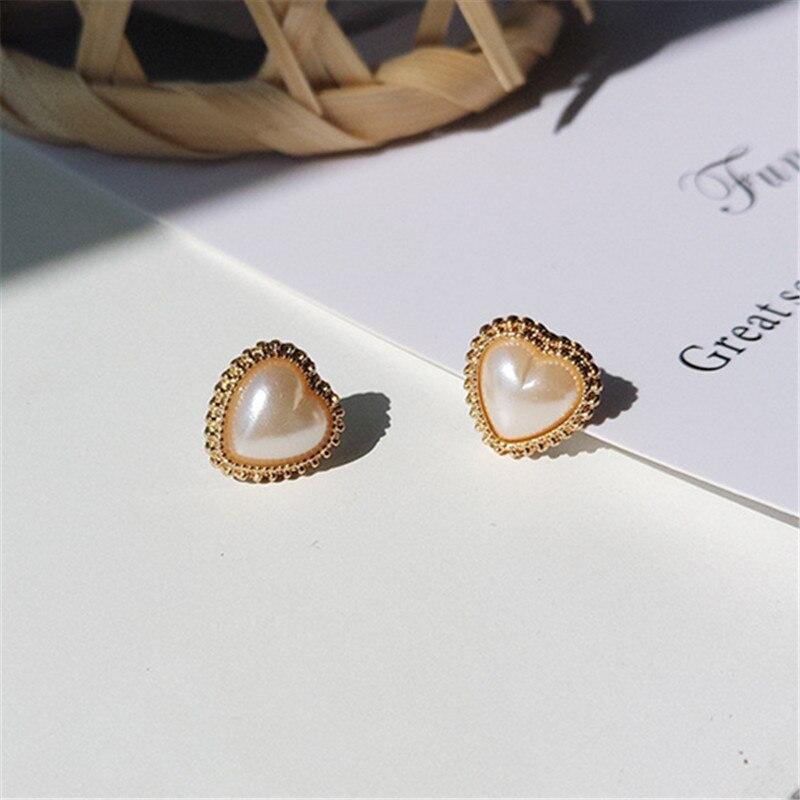 Heart Pearl Earrings For Women Jewelry Making Cute Romantic Earrings Elegant Fashion Minimalist Style Stud Earrings Of Women